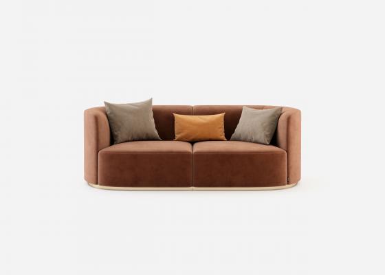Canapé  de design avec piétement en acier inox. Mod. MANAROLA 2P