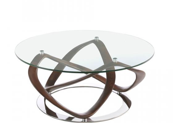 Table basse ronde en verre tempé et structure en bois massif. Mod: DAMA