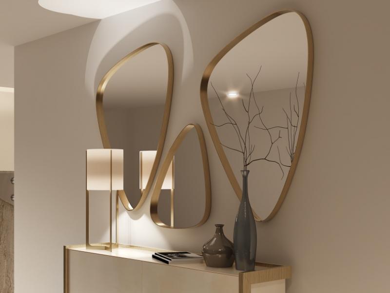 Ensemble de 3 miroirs m�talliques. Mod. PIERRES