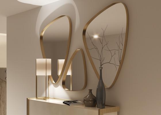Ensemble de 3 miroirs métalliques. Mod. PIERRES