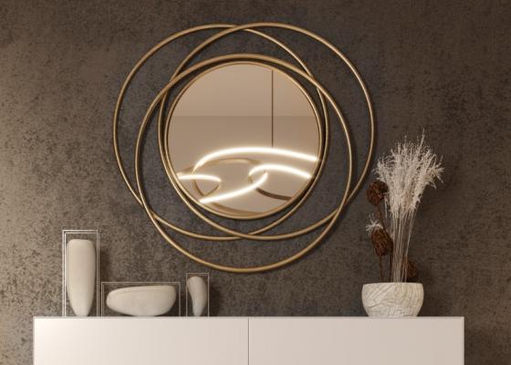 Miroir métallique circulaire. Mod.COURBES