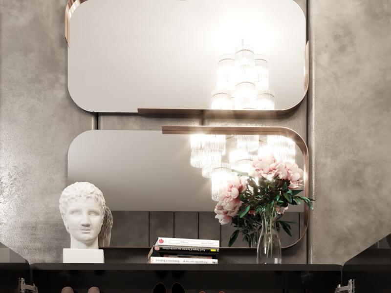 Miroir m�tallique rectangulaire. Mod. VEVEY