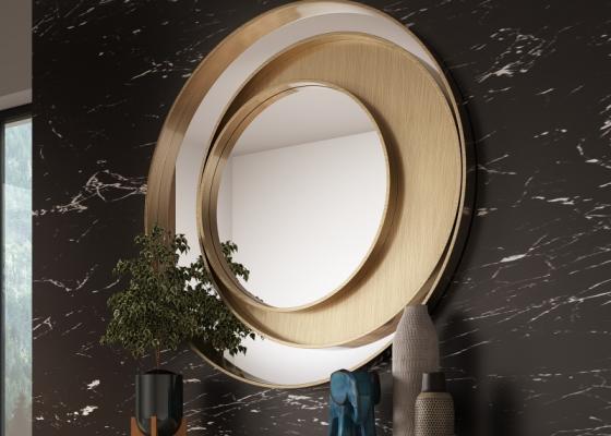 Miroir métallique circulaire. Mod. SPIRALE