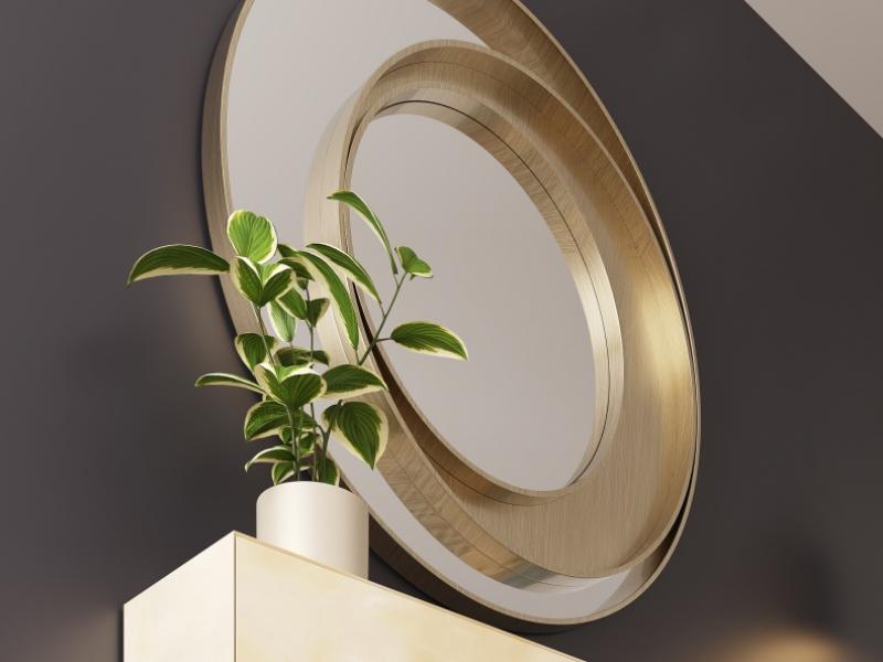 Miroir m�tallique circulaire. Mod. SPIRALE