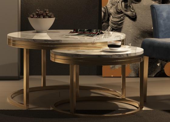Ensemble de deux tables rondes gigognes avec plateau en marbre.Mod: LYA
