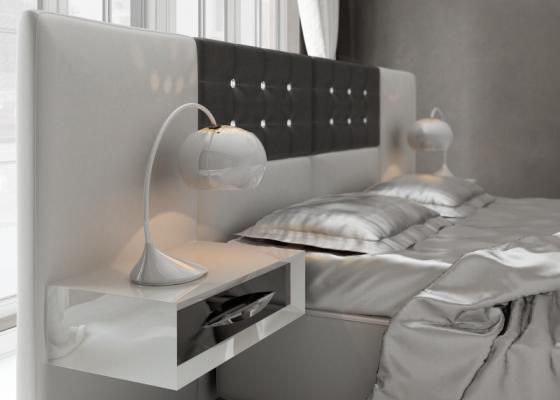 Tête de lit large garnie avec chevets laqués à un tiroir .Mod: ALEA