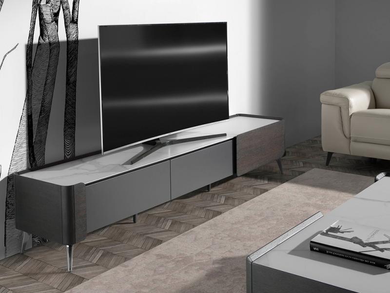 Meuble TV en bois weng� et marbre porcelaine.Mod: ATRANI