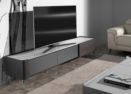 Meuble TV en bois wengé et marbre porcelaine.Mod: ATRANI