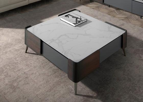 Table basse carrée Wengué et marbre porcelainé .Mod: ATRANI