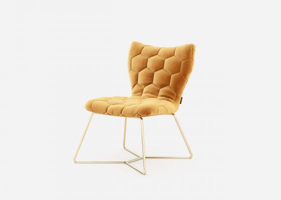 Chaise tapissée avec structure en acier inox.Mod: ISABELLA