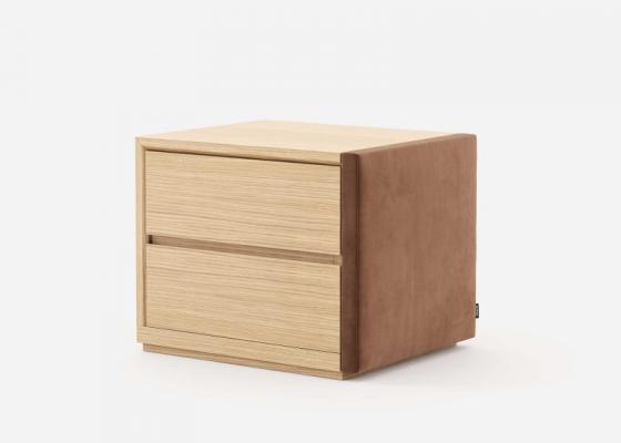 Table de nuit  en bois et tapissées - ensemble de  2 unités. Mod. DORIANNE
