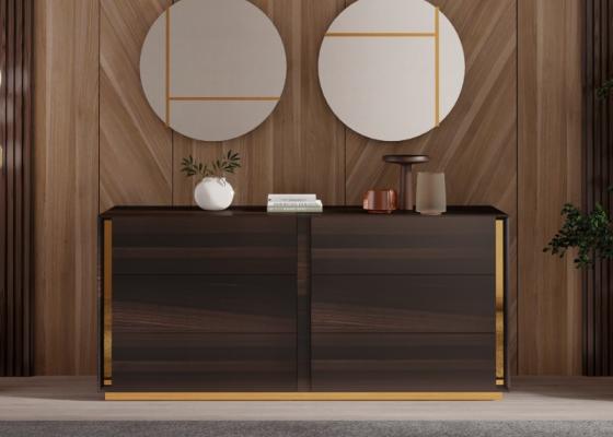 Commode à 6 tiroirs en bois avec décorations en acier inox. Mod. BISMA