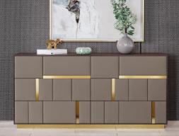 Commode à 6 tiroirs en bois de noyer et façades tiroirs tapissées. Mod. SALMA