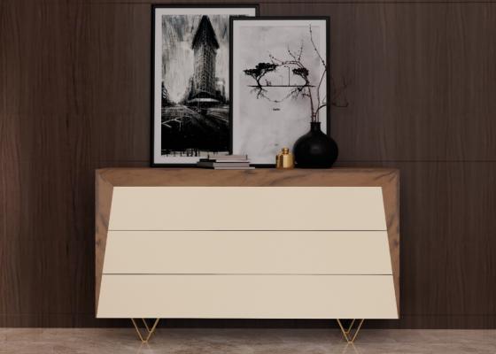 Commode à 3 tiroirs en bois de noyer et façades laquées. Pieds en acier inox doré. Mod. HANANE