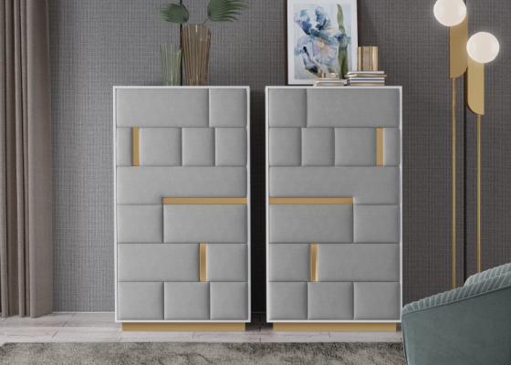 Chiffonnier à  6 tiroirs laqués avec façades tapissées. Mod. SALMA