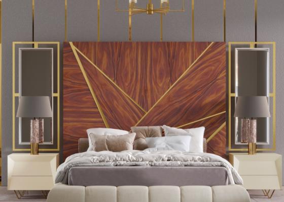 Tête de lit XXL en bois avec décorations en acier inox et miroirs latéraux. Mod. ZURAH