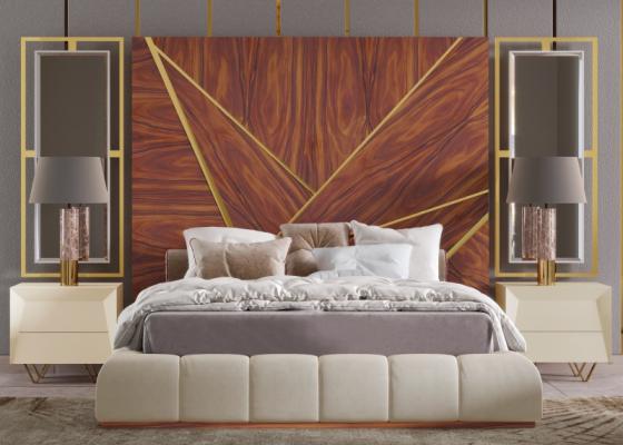 Lit complet XXL tapissé avec tête de lit en bois avec décorations en acier inox et miroirs latéraux. Mod. ZURAH
