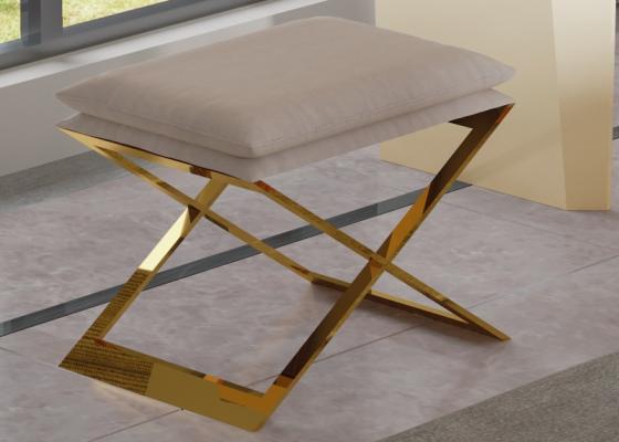 Banquette design tapissée avec piètement en acier inox. Mod. ZURAH