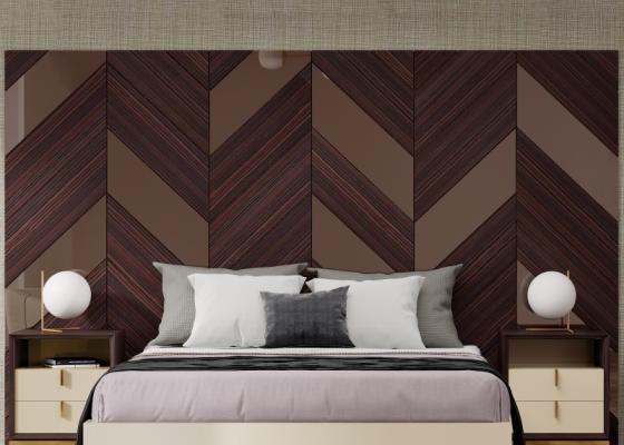 Tête de lit XXL en bois d'ébène avec miroirs. Mod. YASSIRA
